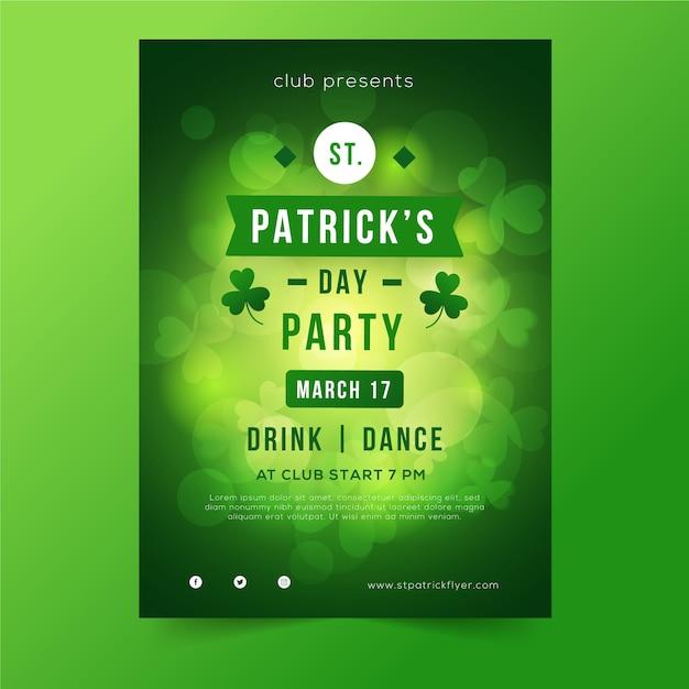 St. patrick's dag wazig groene poster met klavers Gratis Vector