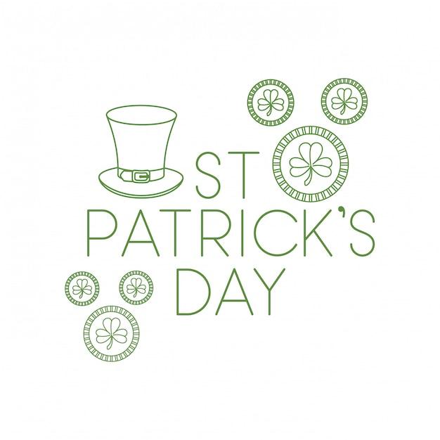 St Patrick `s dagetiket met klaver en elfhoedenpictogrammen Premium Vector