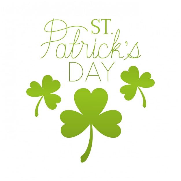 St Patrick `s dagetiket met klaver geïsoleerd pictogram Premium Vector