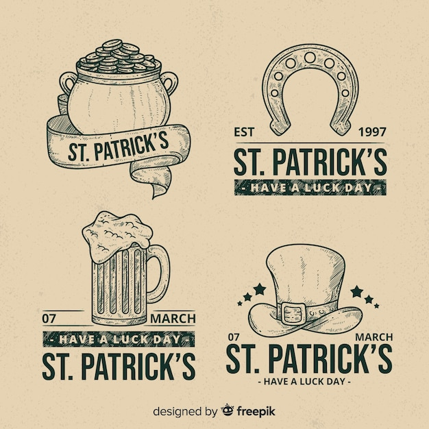 St. patrick's day badge collectie Gratis Vector