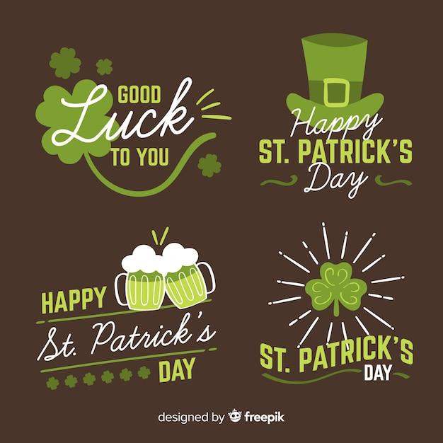 St. patrick's day badge collectie Gratis Vector