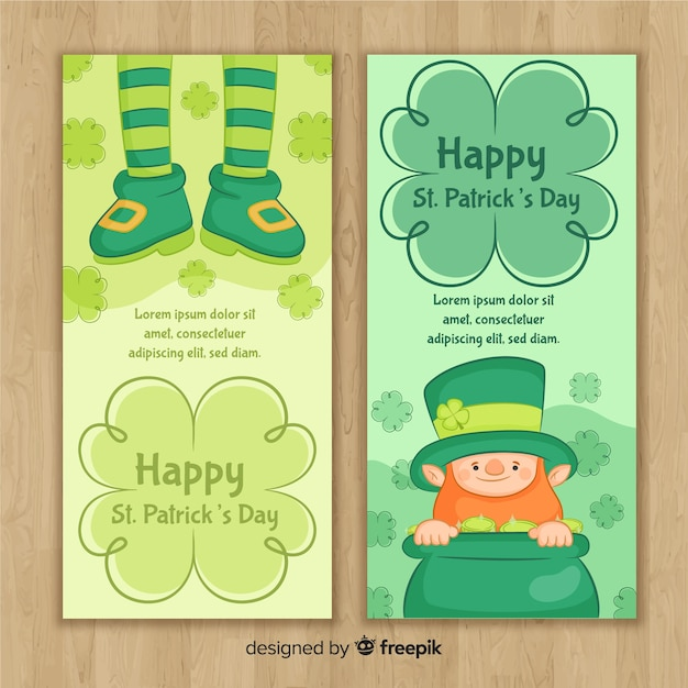 St patrick's day banners Gratis Vector