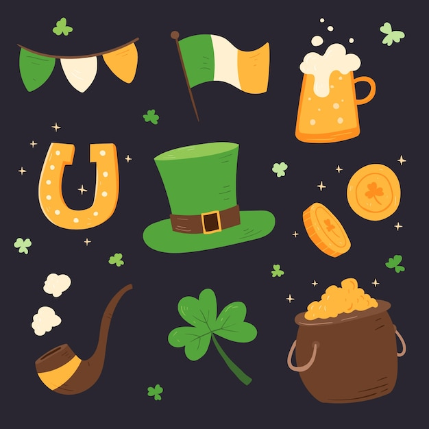 St. patrick's day element collectie hand getrokken Gratis Vector