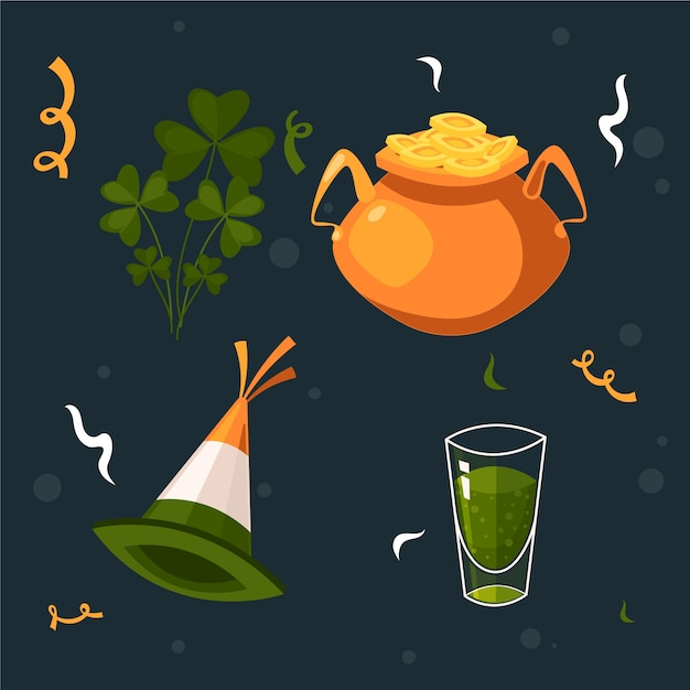 St. patrick's day element collectie vlakke stijl Gratis Vector