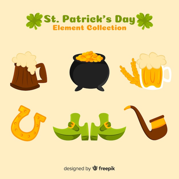 St. patrick's day element collectie Gratis Vector