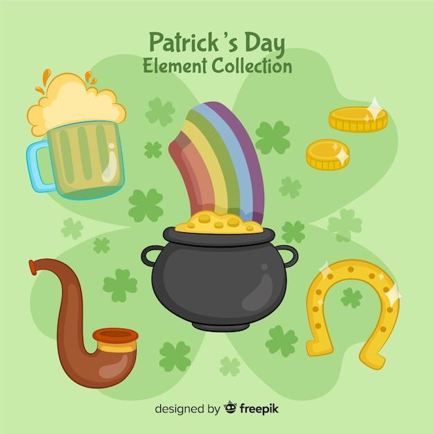 St patrick's day-elementencollectie Gratis Vector