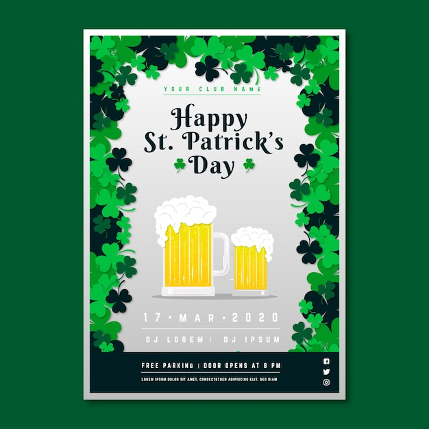 St. patrick's day flyer met blonde pale ales Gratis Vector
