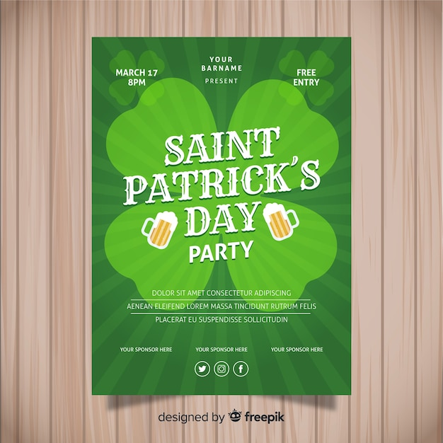 St. patrick's day flyer sjabloon Gratis Vector