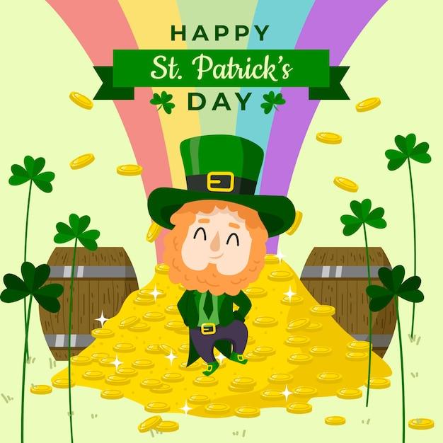 St. patrick's day hand getrokken einde van regenboog en munten Gratis Vector