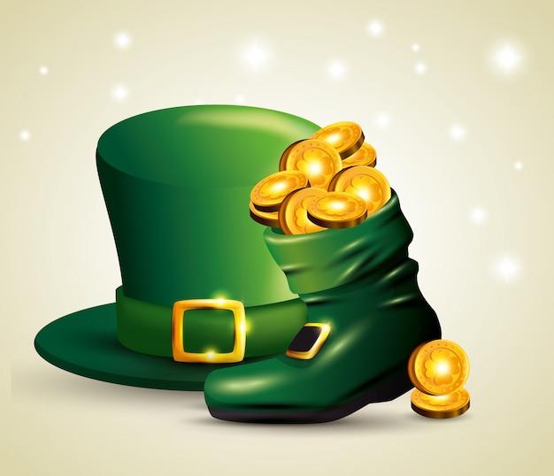 St patrick's day hoed met munten in de laars Gratis Vector