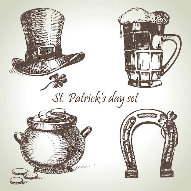 St. patrick's day ingesteld. hand getekende illustraties Premium Vector