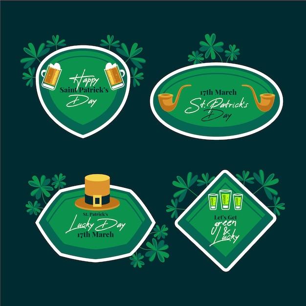 St. patrick's day labels en badges groen met bladeren Gratis Vector