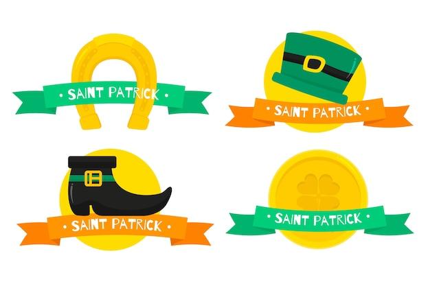 St. patrick's day labels en badges met gouden munten Gratis Vector