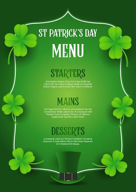 St patrick's day-menuontwerp met hoge zijden en klaver Premium Vector