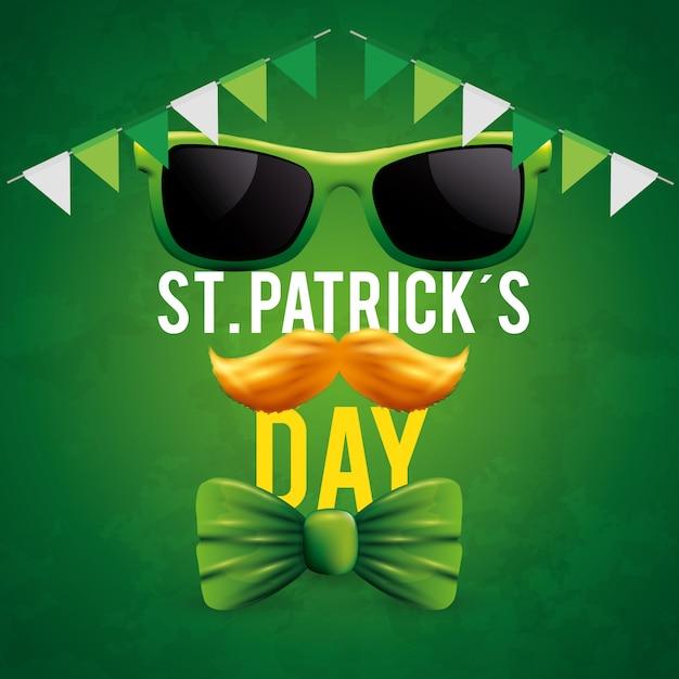 St patrick's day met zonnebril en snor Gratis Vector