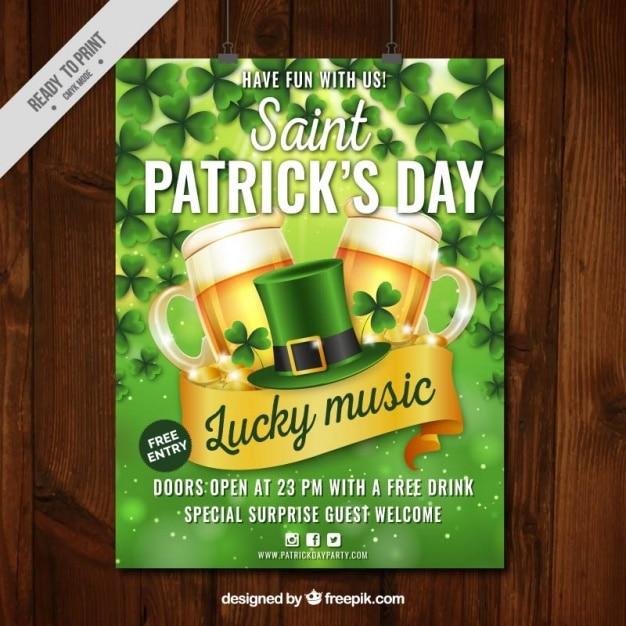 St patrick's day party poster in realistische stijl Gratis Vector