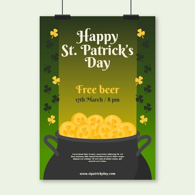 St. patrick's day-poster met gratis bier en munten Gratis Vector