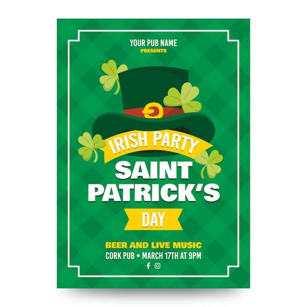 St. patrick's day-poster met hoge zijden en klavers Gratis Vector