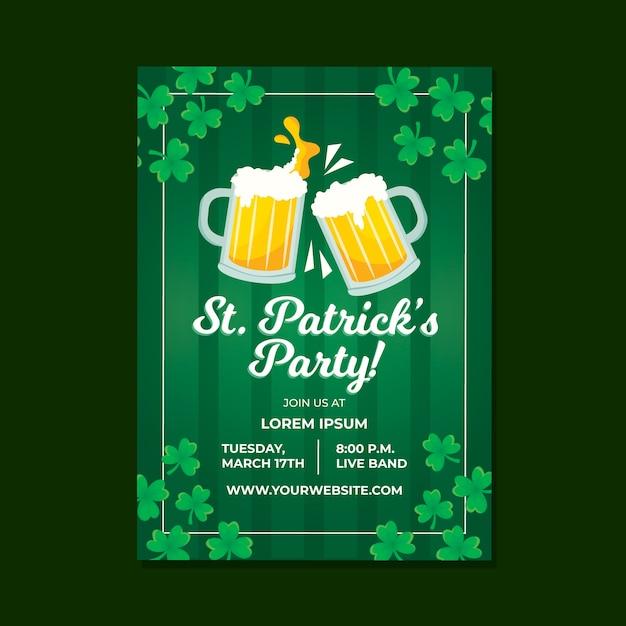 St. patrick's day poster sjabloon Gratis Vector