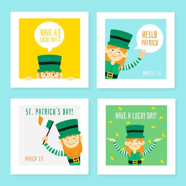 St. patrick's day social media friend green elves Gratis Vector