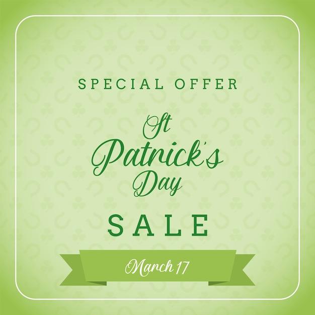 St patrick's day-uitverkoop en speciale aanbieding banner Premium Vector
