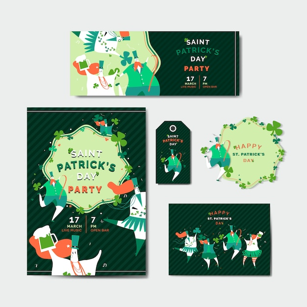 St. patrick's day viering vastgestelde lay-out vector Gratis Vector