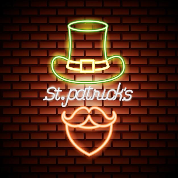 St patricks dag neon Gratis Vector