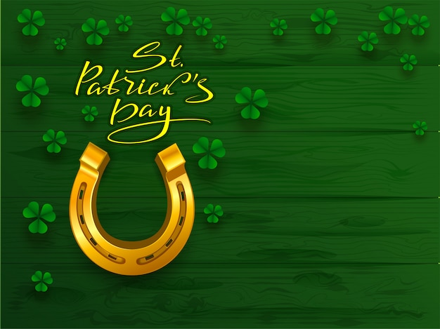 St. patricks dag tekst wenskaart. gouden hoefijzer en de groene klaver van de bladklaver op groene raadsachtergrond Premium Vector
