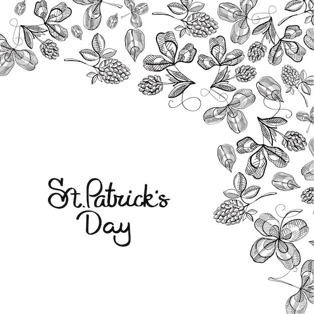 St patricks day bloemen met inscriptie en schets ierse klaver hop takken vector illustratie Gratis Vector