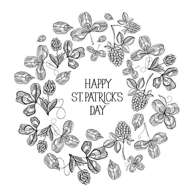 St patricks day floral ronde compositie wenskaart met inscriptie en schets ierse klaver vectorillustratie Gratis Vector