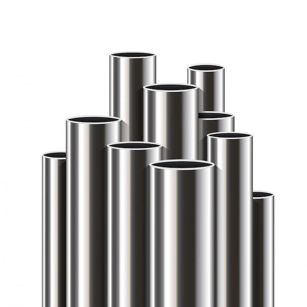 Staal, aluminium, metalen buizen, stapel buizen, pvc. Premium Vector