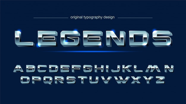 Staal chroom staal typografie Premium Vector