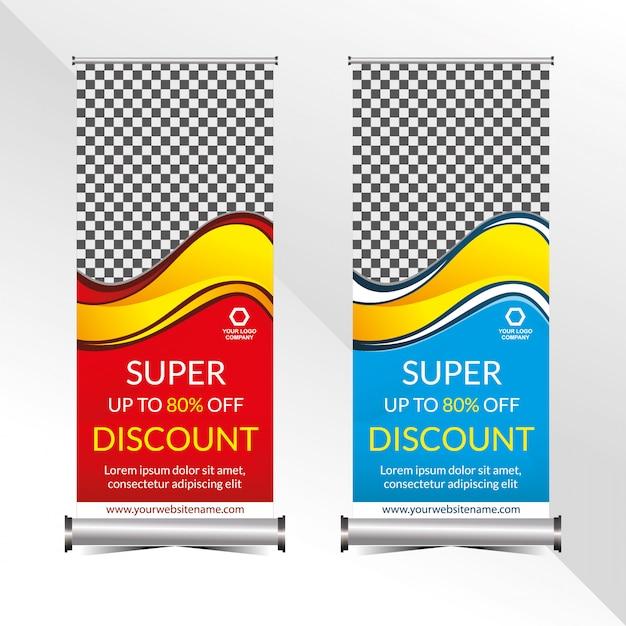 Staande banner promotie sjabloon super speciale korting aanbieding verkoop Premium Vector