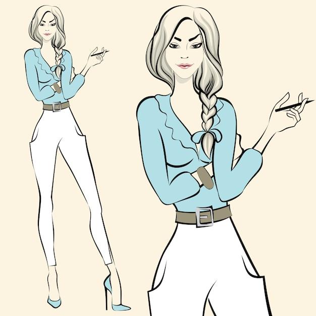 Staande vrouw emoties van de mode Gratis Vector