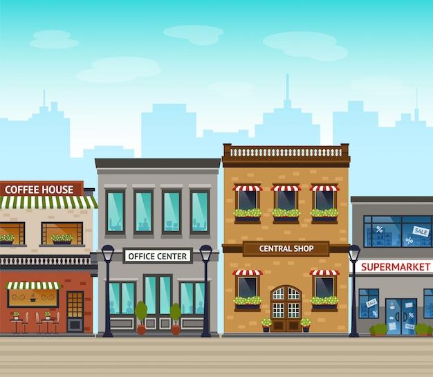 Stad achtergrond afbeelding Gratis Vector