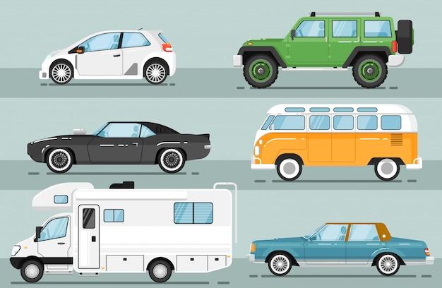 Stad auto voertuig geïsoleerde set Premium Vector