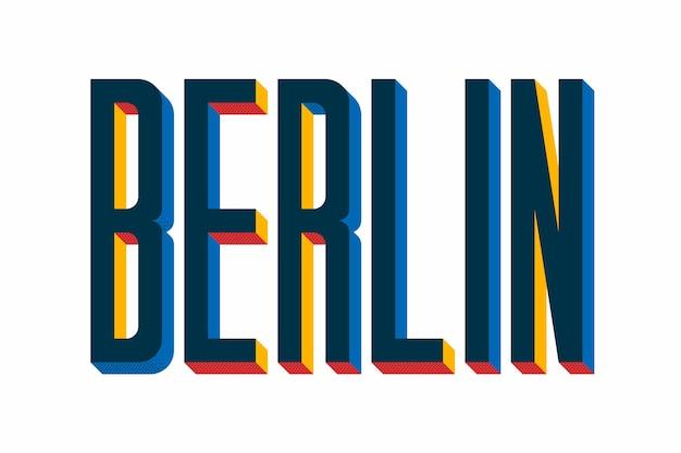 Stad belettering met berlijn concept Gratis Vector