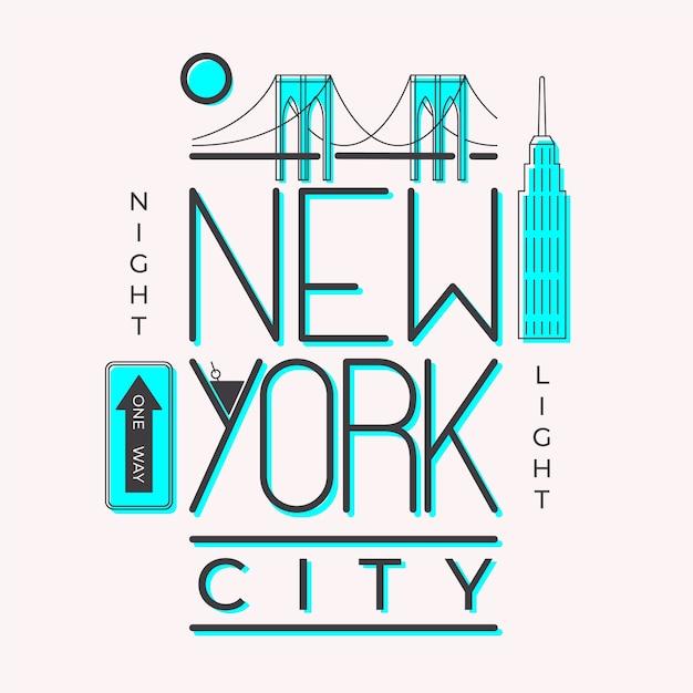 Stad belettering new york concept Gratis Vector