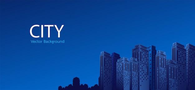 Stad bij nacht achtergrond Premium Vector