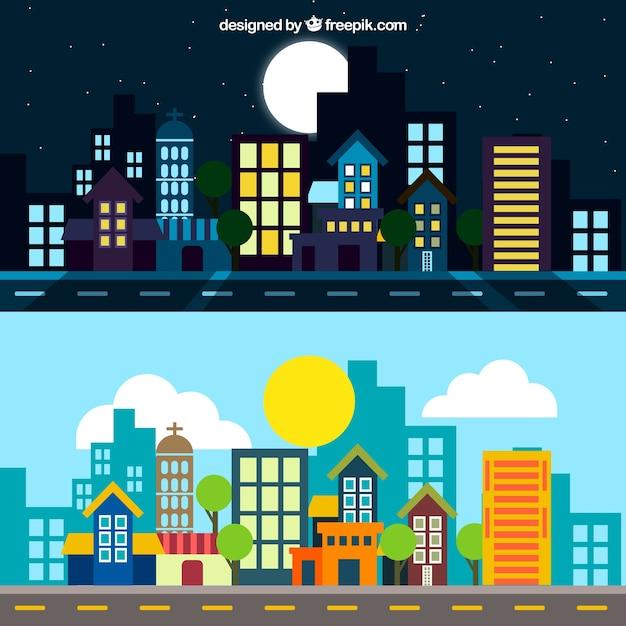 Stad bij nacht en dag illustratie Gratis Vector