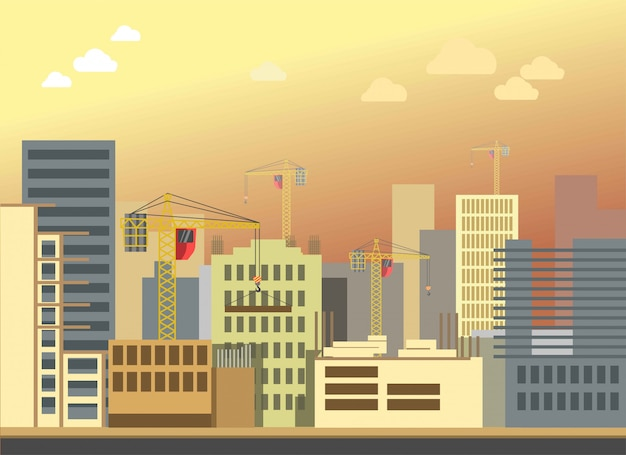 Stad bouwbouw landschap vector plat modern panorama Premium Vector