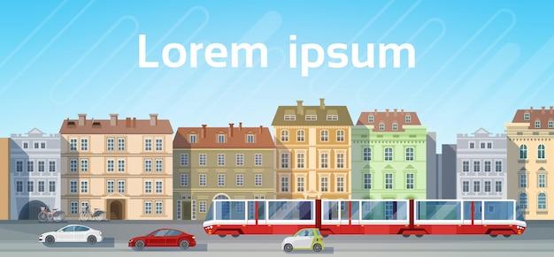 Stad bouwen huizen bekijken met auto weg tram vervoer achtergrond skyline exemplaarruimte Premium Vector