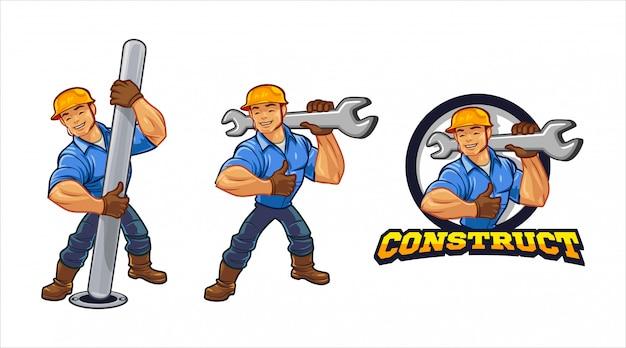 Stad bouwvakker karakter mascotte logo Premium Vector