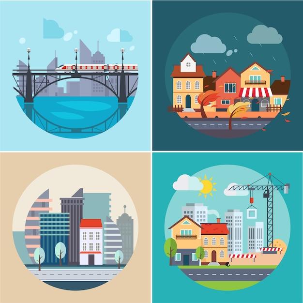 Stad en stadslandschappen, gebouwen Premium Vector
