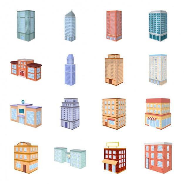 Stad gebouw cartoon icon set Premium Vector