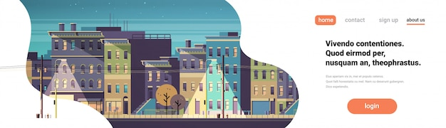 Stad gebouw huizen nacht weergave skyline banner Premium Vector
