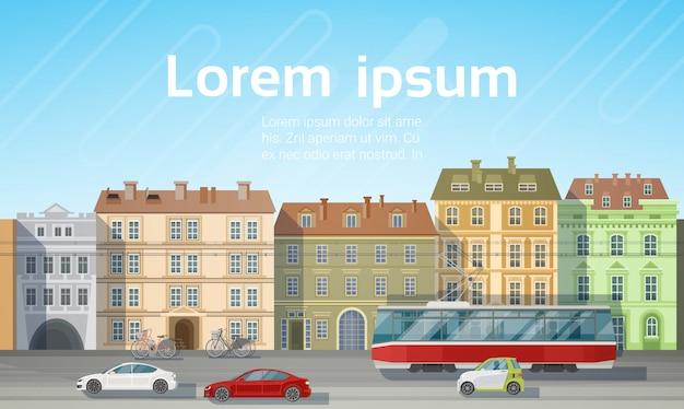 Stad gebouw huizen uitzicht met auto road tram vervoer skyline Premium Vector
