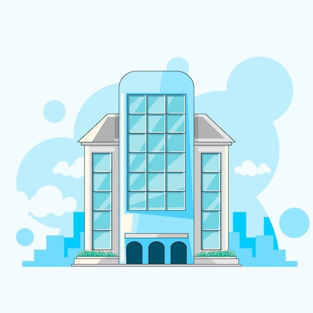 Stad gebouw plat vectorontwerp Premium Vector