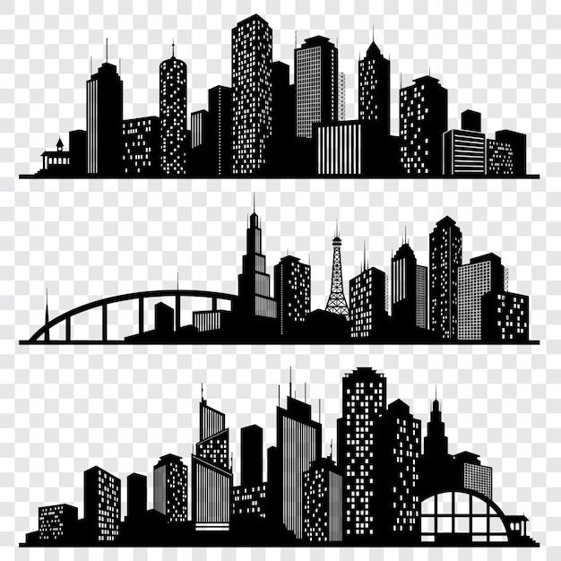 Stad gebouw vector silhouetten, stedelijke vector skylines instellen Premium Vector