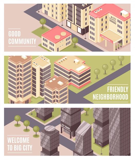 Stad gebouwen isometrische banners Gratis Vector